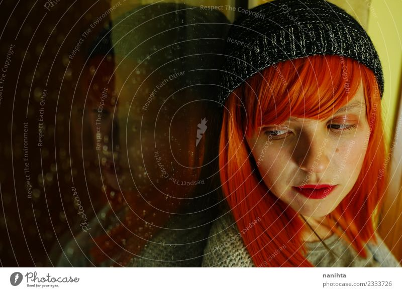 Young redhead woman near a window in a rainy day Lifestyle Style Design Beautiful Hair and hairstyles Senses Calm Human being Feminine Young woman