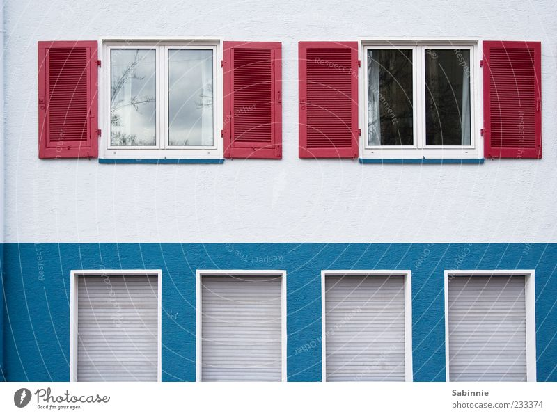 Blue White Red Colour House (Residential Structure) Window Wall (building) Architecture Wall (barrier) Building Facade Exceptional Manmade structures Shutter