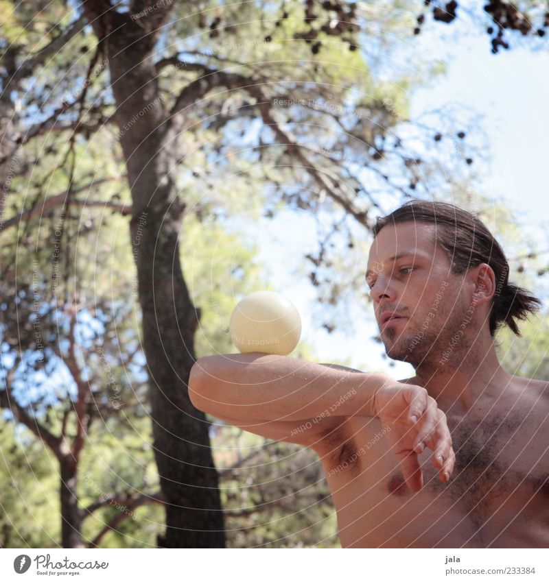 concentrated Ball Juggle Juggler Human being Masculine Man Adults 1 30 - 45 years Long-haired Braids Esthetic Concentrate Balance Sports Training Colour photo