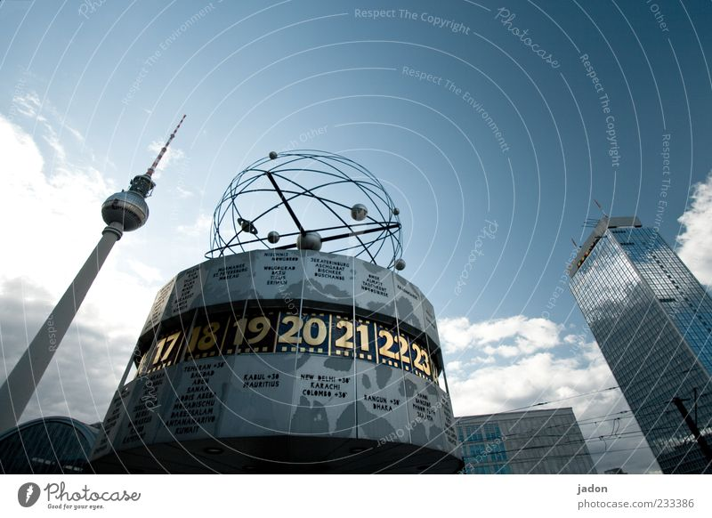 space-time relationship Time machine Clock Capital city High-rise Tower Tourist Attraction Landmark Blue Tourism Alexanderplatz Meeting point World time clock