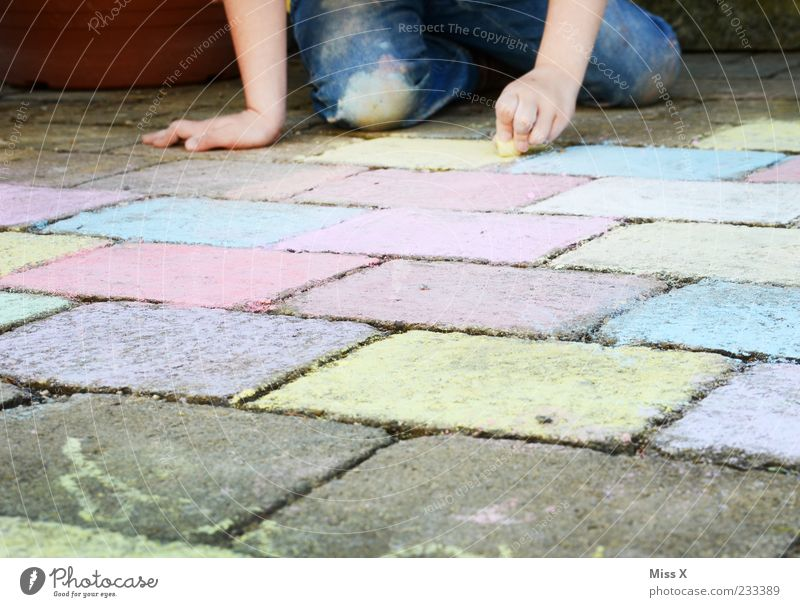 a lot of work Leisure and hobbies Playing Human being Child Girl 1 3 - 8 years Infancy Art Artist Painter Draw Multicoloured Cobblestones Paving stone Chalk