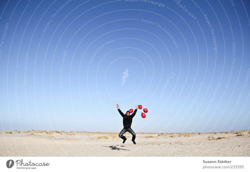 Man Ocean Beach Joy Adults Far-off places Life Happy Jump Funny Elegant Masculine Success Crazy Beautiful weather Balloon