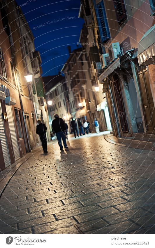 curfew Tourism Human being Old town House (Residential Structure) Dark Cobblestones Colour photo Exterior shot Copy Space bottom Twilight Night Artificial light
