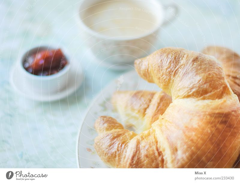 krossong Food Dough Baked goods Croissant Jam Nutrition Breakfast Beverage Hot drink Coffee Crockery Plate Cup Delicious Sweet Crisp Fresh Strawberry jam