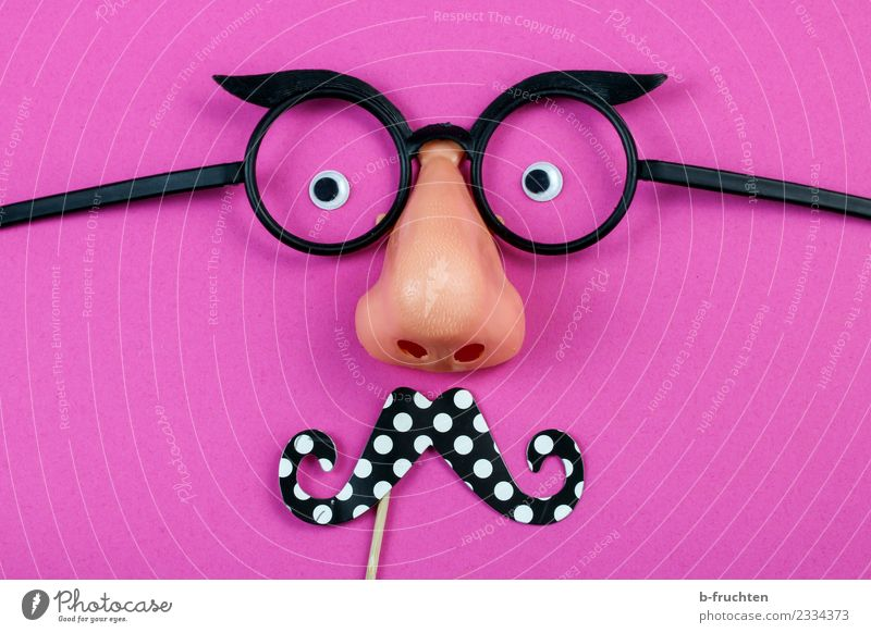 Man with beard Feasts & Celebrations Carnival Hallowe'en Eyes Nose Facial hair Mask Eyeglasses Observe Pink Joy Requisite Anonymous Hide Masculine Dress up