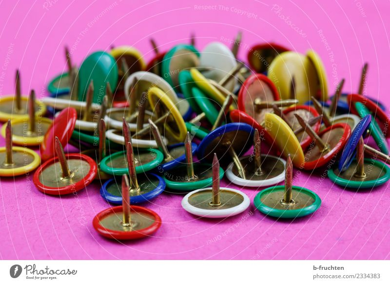 Colourful drawing pins Office work Workplace Lie Many Multicoloured Business Chaos Creativity Thumbtack Point Needle Nail Distributed Colour photo Studio shot