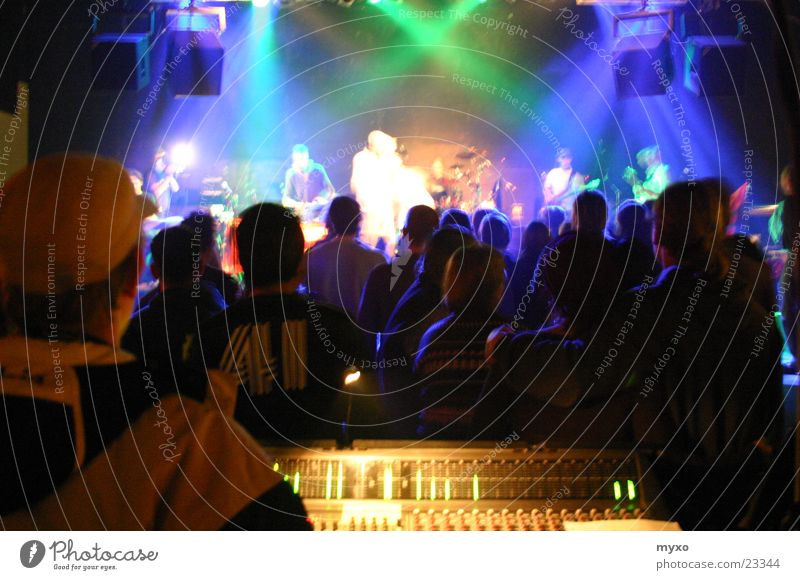 stage show Concert Live Stage Party Mixing desk Shows Group Lighting String Party goer