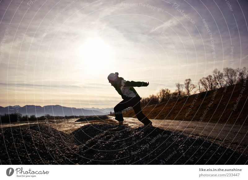 Human being Woman Nature Youth (Young adults) Joy Adults Far-off places Environment Life Landscape Mountain Movement Lanes & trails Jump Ice Frost