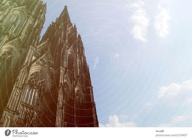 Sky Clouds Religion and faith Tall Church Point Beautiful weather Cologne Dome Tourist Attraction Gothic period Cologne Cathedral