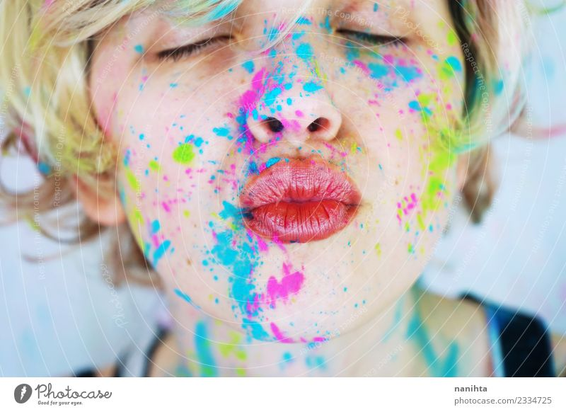 Kiss of a young woman with colorful paint in her face Style Design Exotic Beautiful Make-up Human being Feminine Young woman Youth (Young adults) 1