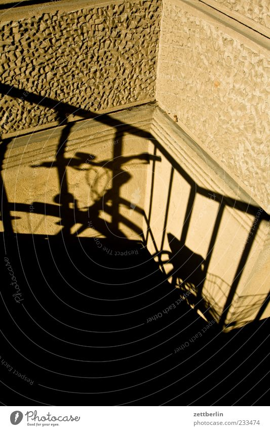 bicycle Summer Stand Wait Shadow Handrail Colour photo Subdued colour Exterior shot Detail Deserted Copy Space top Copy Space bottom Morning Day Light Sunlight
