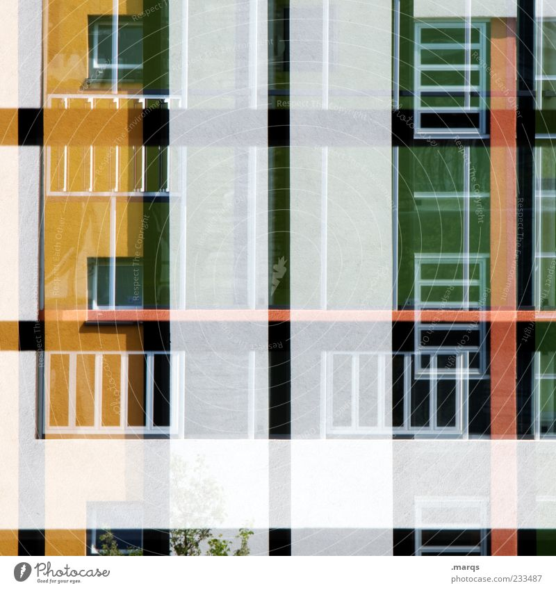 Green Red Colour Black House (Residential Structure) Yellow Window Architecture Building Style Line Background picture Facade Modern Exceptional Perspective
