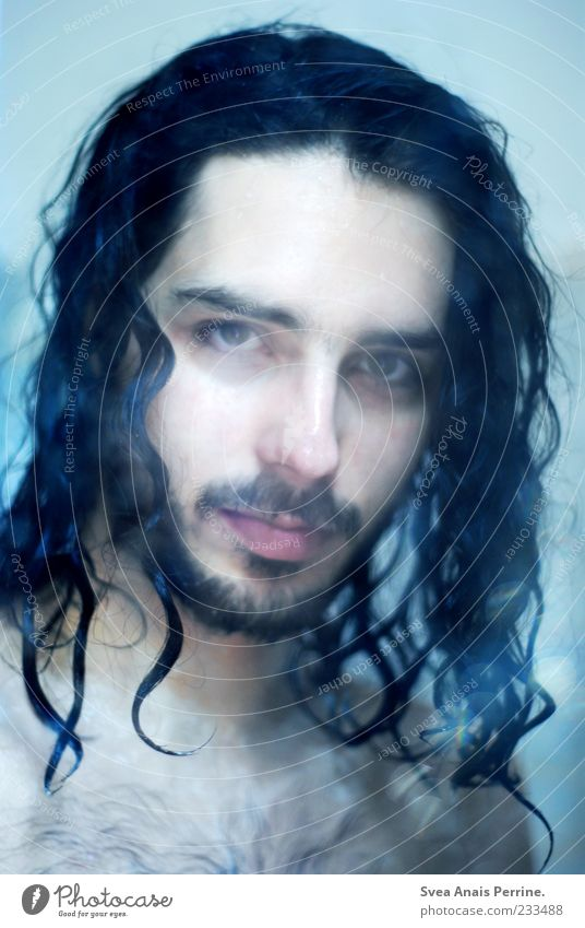 under the shower. Masculine Hair and hairstyles Face 1 Human being 18 - 30 years Youth (Young adults) Adults Brunette Long-haired Curl Wet Cleanliness