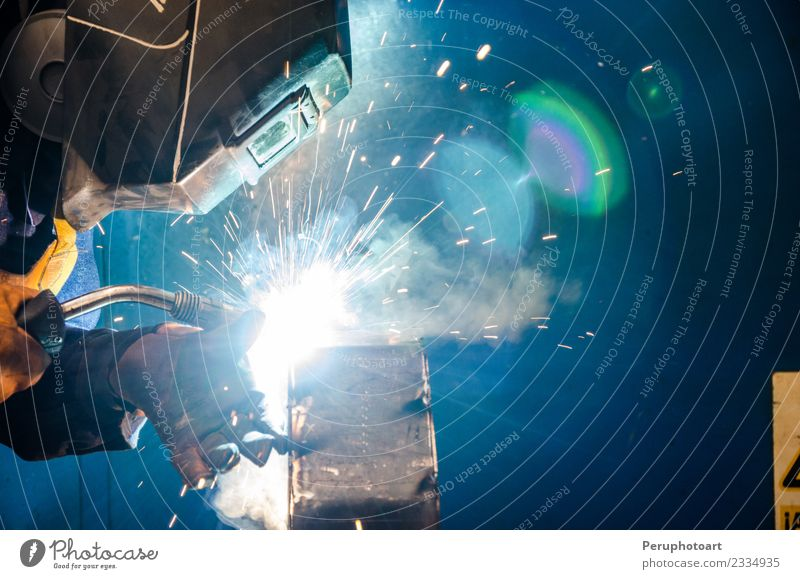 Welder Man Adults Work and employment Metal Industry Protection Safety Profession Factory Steel Workplace Tool Build Employees & Colleagues Production