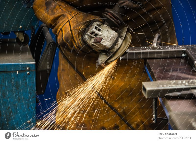 Man cutting iron Work and employment Factory Industry Business Tool Technology Human being Adults Hand Building Metal Steel Protection Builder circle