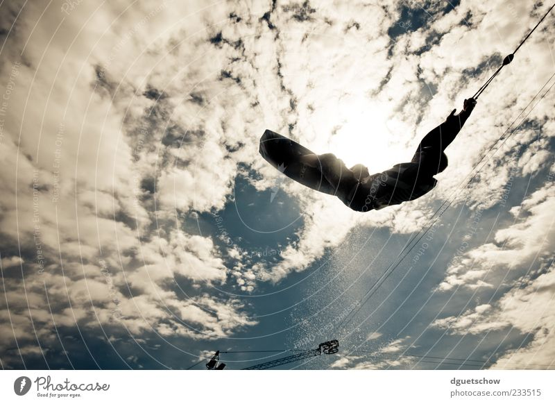 Sky Joy Clouds Sports Flying Steel cable Sportsperson Aquatics Trick Funsport Cloud formation Water ski