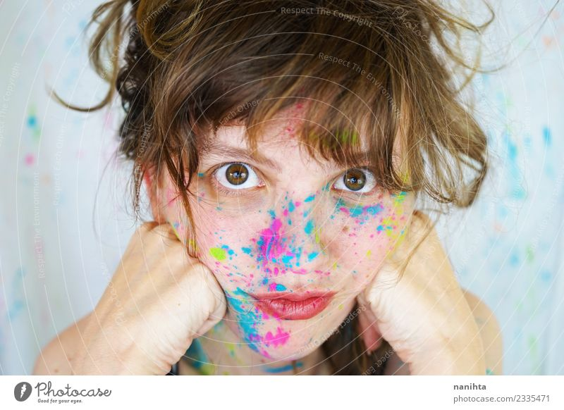 Young cute woman with paint in her face Lifestyle Style Design Exotic Joy Beautiful Skin Face Make-up Wellness Human being Feminine Young woman