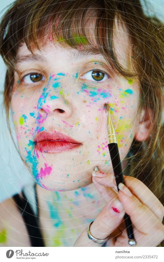 Young woman painting her face Style Design Beautiful Skin Face Make-up Human being Feminine Youth (Young adults) 1 18 - 30 years Adults Art Artist Painter