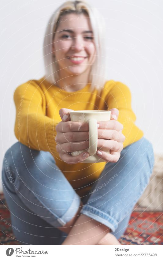 Woman giving you a cup of hot coffee Breakfast Beverage Hot drink Coffee Tea Joy Happy Beautiful Winter Human being Feminine Young woman Youth (Young adults)