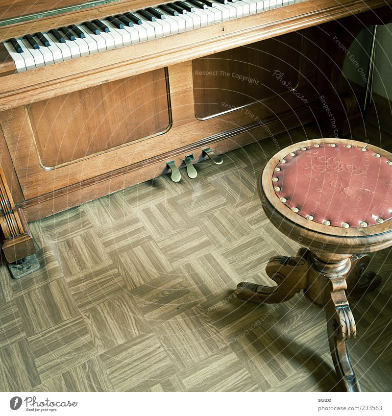 Eckes Edelkirsch Leisure and hobbies Living or residing Flat (apartment) Music Piano Wood Old Brown Past Stool Linoleum Floor covering Keyboard Sound