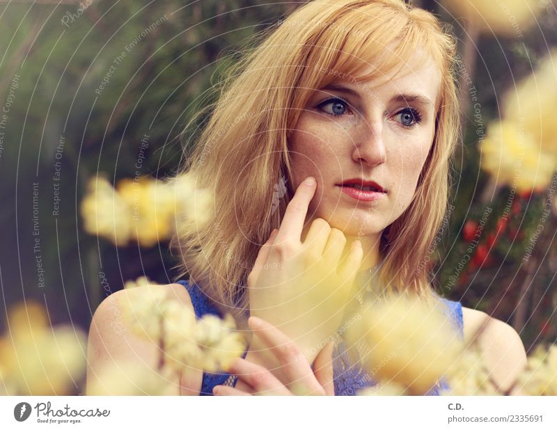 Youth (Young adults) Young woman Blue Beautiful Flower 18 - 30 years Adults Yellow Spring Emotions Think Dream Gold Meditative Esthetic Blonde
