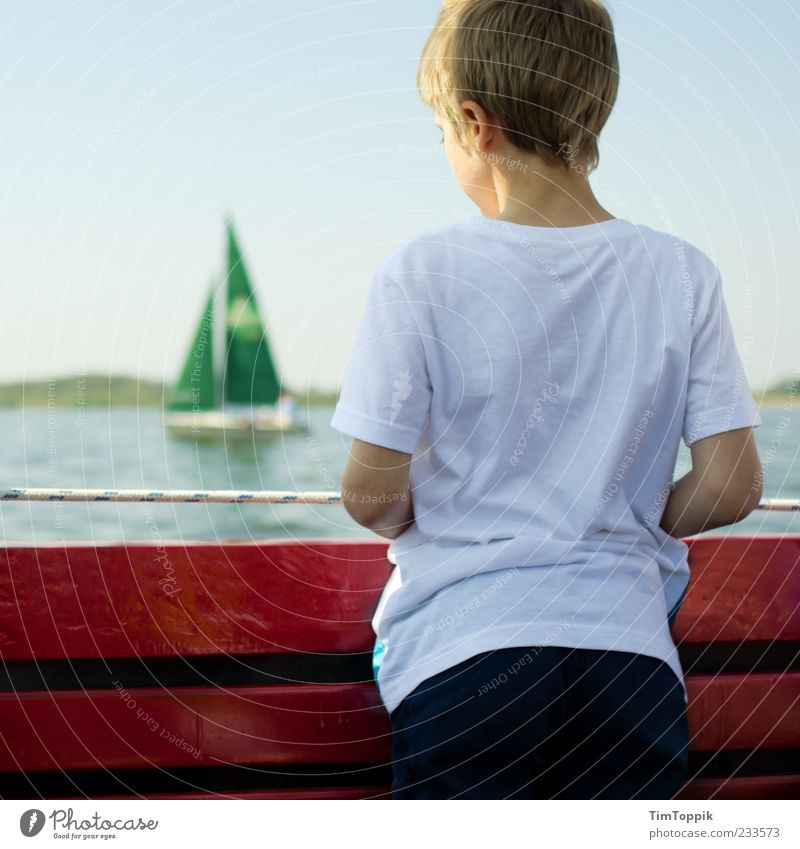sail away 1 Human being 8 - 13 years Child Infancy Longing Wanderlust Dümmer See Boy (child) T-shirt Sailing Sailboat Sailing ship Lake Vacation & Travel