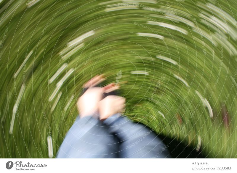 Human being Nature Blue White Green Flower Meadow Grass Legs Feet Background picture Grass surface Rotate Copy Space Rotation Movement