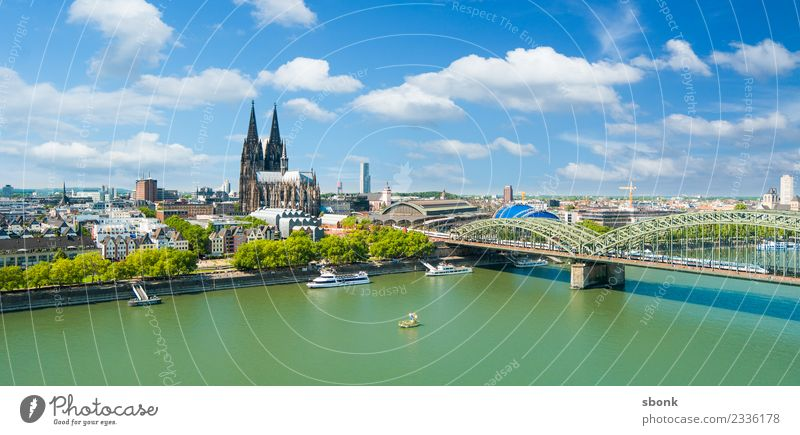 Cologne Summer Panorama Skyline Dome Tourist Attraction Landmark Monument Cologne Cathedral Vacation & Travel Germany City cityscape Rhine Panorama (Format)