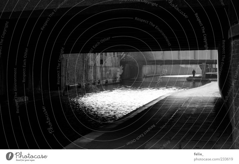 under the bridge London Great Britain Europe Tunnel Esthetic Town Black White Loneliness Mysterious Black & white photo Exterior shot Day Light Shadow Contrast