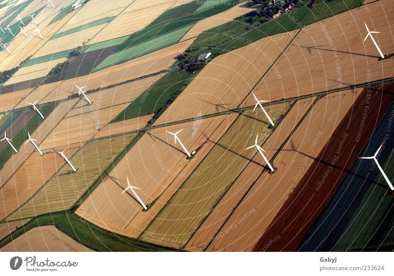 Autumn Landscape Field Energy Climate Renewable energy Electricity Perspective Change Many Wind energy plant Aerial photograph Climate change Sustainability