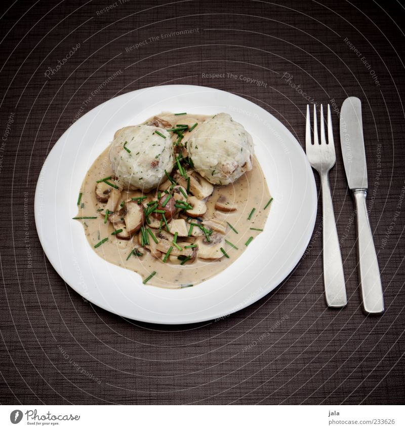 delicately Food Dumpling Sauce Mushroom Nutrition Lunch Organic produce Vegetarian diet Plate Cutlery Knives Fork Delicious Colour photo Exterior shot Deserted