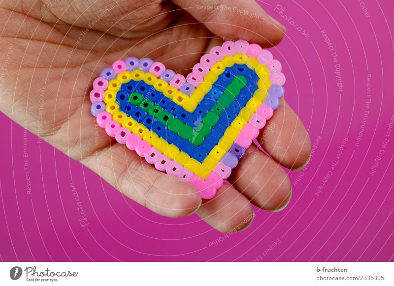 Heart made of beads Hand Fingers 30 - 45 years Adults Plastic Sign To hold on Happiness Pink Sympathy Friendship Love Heart-shaped Indicate Pattern Attachment