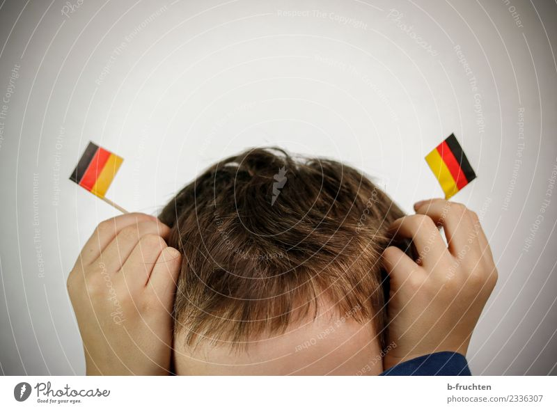 Child Hand Joy Movement Boy (child) Playing Germany Head Infancy Happiness To hold on Flag Relationship Politics and state Brash Antlers