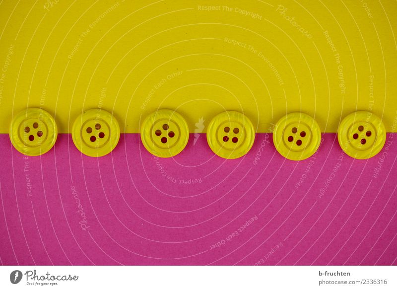button row Line Yellow Pink Safety Contentment Equal Horizon Arrangement Buttons Border Row Middle Studio shot Close-up Deserted Artificial light