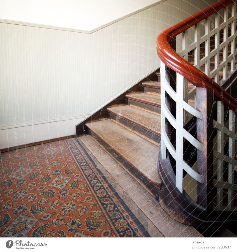 Up Flat (apartment) Interior design Stairs Staircase (Hallway) Banister Old building Wood Nostalgia Perspective Go up Subdued colour Interior shot Deserted