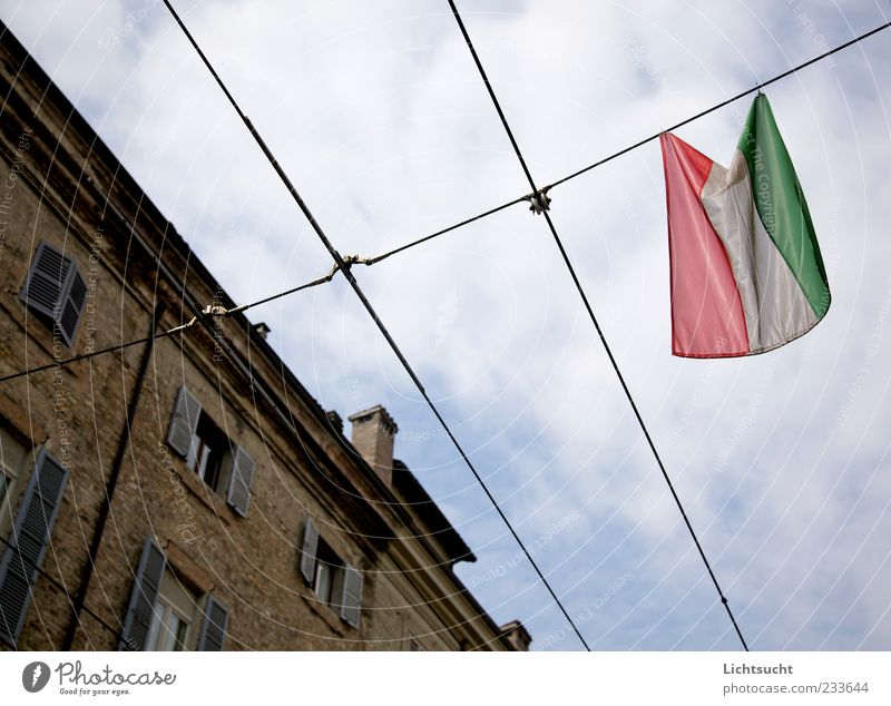 150 Years Italy Ensign Flag Parma Italian Old town Architecture Facade Sign Bright Cliche Blue Loyalty Homesickness Pride Conceited Emotions Identity Moody Past