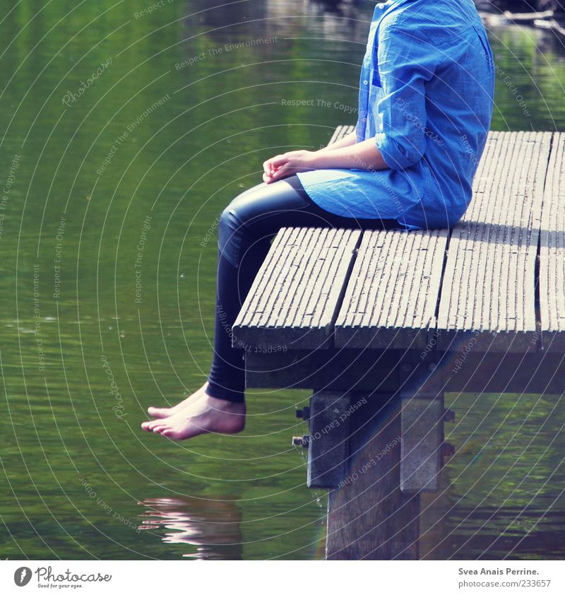 Human being Youth (Young adults) Water Loneliness Adults Legs Feet Sit 18 - 30 years Uniqueness Thin Beautiful weather Shirt Footbridge Pond Barefoot