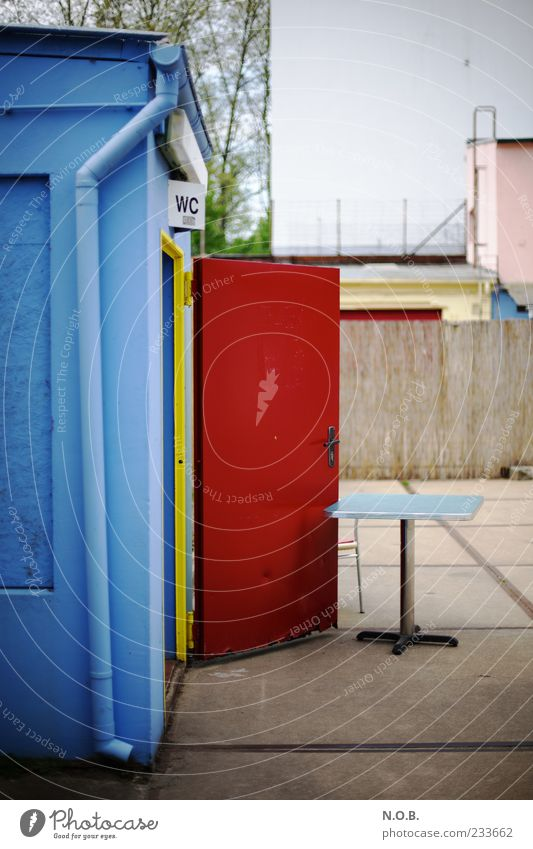 We'll have to Summer Beach bar Facade Outside toilet Blue Red Toilet Colour photo Exterior shot Copy Space top Day Multicoloured Door Open Table Downspout