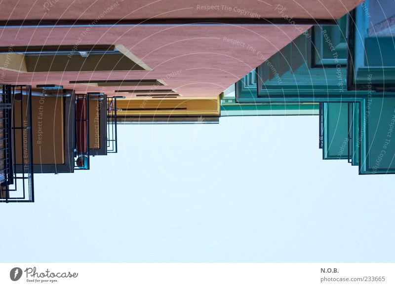 Lines and shapes Deserted Building Architecture Wall (barrier) Wall (building) Facade Balcony Window Blue Pink Colour photo Multicoloured Exterior shot