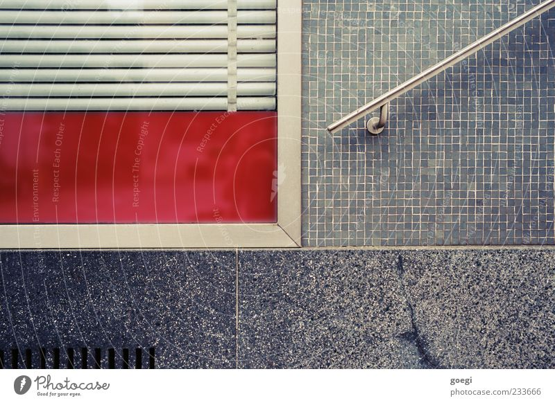 no thanks, that's all. Wall (barrier) Wall (building) Window Banister Shop window Venetian blinds Roller shutter Mosaic Vent slot Gray Red Colour photo