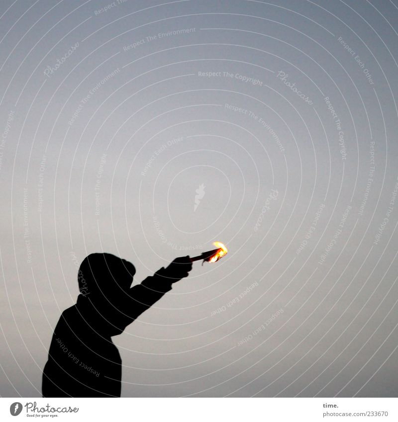 Human being Sky Man Black Adults Dark Movement Moody Arm Masculine Fire Burn Indicate Hooded (clothing) Resolve Torch