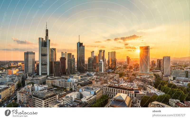 Frankfurt Summer Evening II Office Business Downtown Skyline High-rise Vacation & Travel Main City cityscape river architecture buildings banking banks