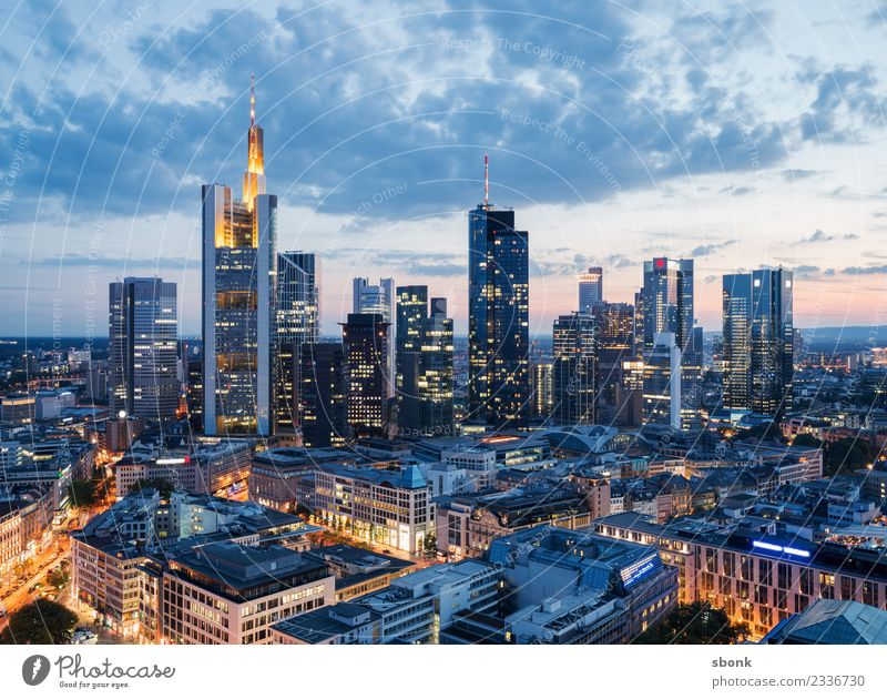 Evening in Mainhattan Office Business Frankfurt Town Downtown Skyline High-rise Manmade structures Building Architecture Vacation & Travel City cityscape