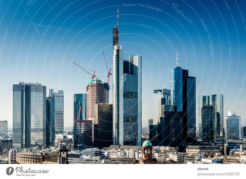 Frankfurt Skyscrapers Office Business Town Downtown Skyline High-rise Bank building Manmade structures Building Architecture Society Vacation & Travel Main City