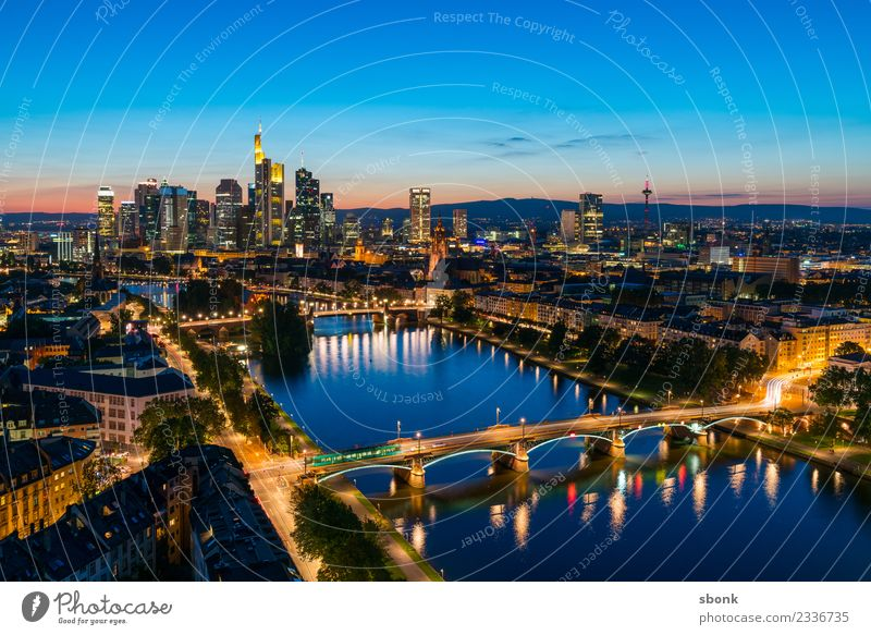Frankturter summer evening Office Business Frankfurt Town Downtown Skyline High-rise Architecture Vacation & Travel Main City cityscape river buildings banking