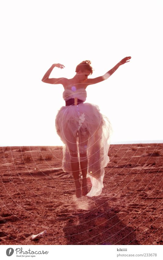 light Jump Easy Airy White Dress Tulle Belt Beach Sand Arm Blonde Horizon Blow Back-light Exterior shot Full-length Contentment Dream Fairy Beautiful Fantastic