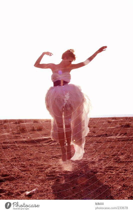 White Beautiful Beach Sand Jump Young woman Dream Horizon Contentment Blonde Arm Dance event Dress Posture Fantastic Easy