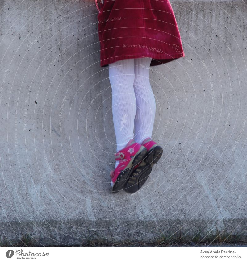 Human being Child Red Girl Wall (building) Playing Wall (barrier) Legs Fashion Feet Infancy Pink Curiosity Climbing Skirt Hang
