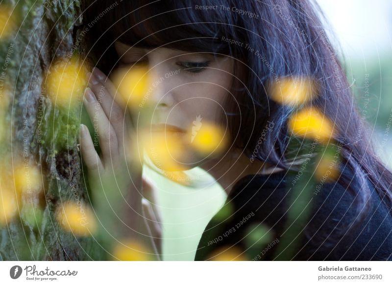 Mit zu Boden gefallenen Stiften Human being Nature Hand Face Yellow Feminine Emotions Moody Rest
