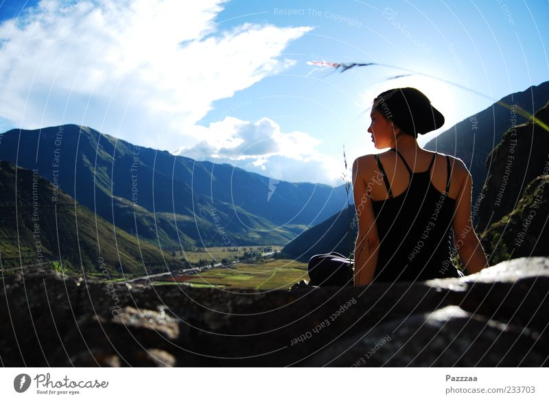 The Incas already liked it. Vacation & Travel Trip Far-off places Freedom Summer Sun Sunbathing Mountain Feminine Young woman Youth (Young adults) 1 Human being
